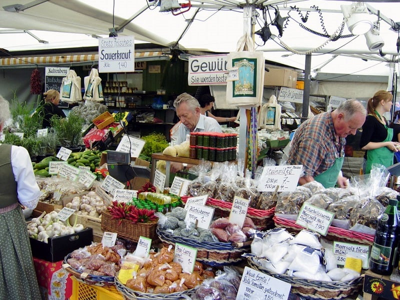 Mercado Viktualienmarkt em Munique