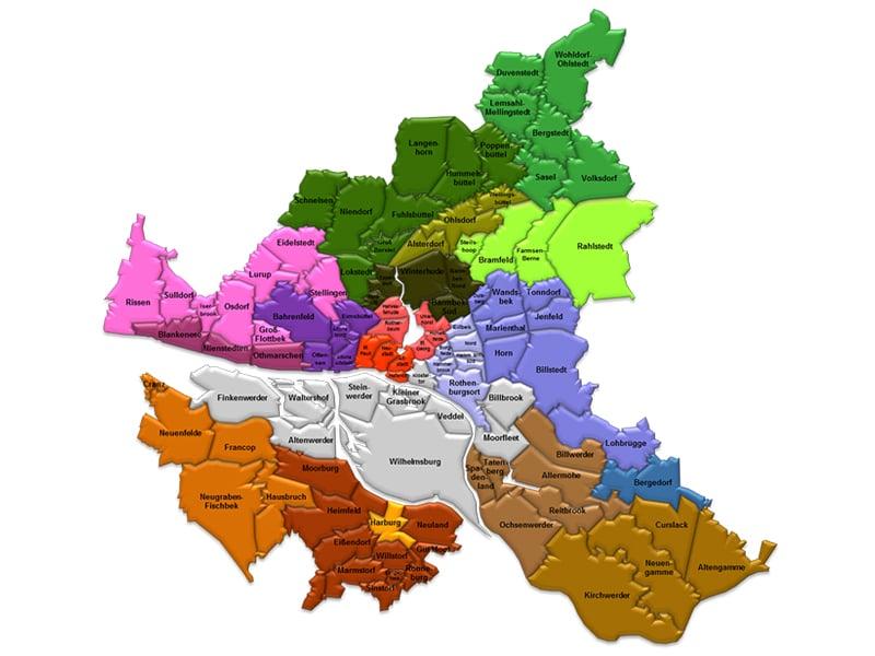 Mapa de regiões em Hamburgo