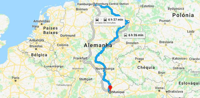 Mapa da viagem de trem de Hamburgo a Munique